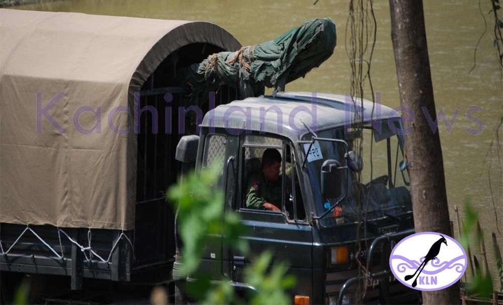 Burmese army truck transporting artillery