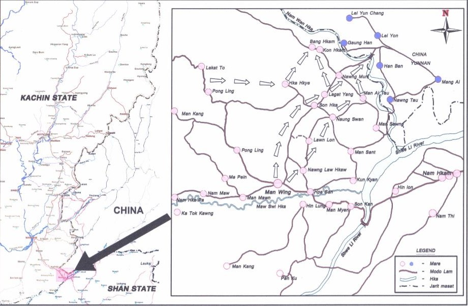 Area map showing Burmese army's offensives on Bang Hkam and Nong Mun gate