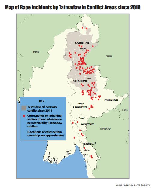 Map of rape incidents by Tatmadaw in conflict areas since 2010 (Source: Same Impunity, Same Patterns by WLB)